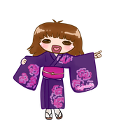 Chibi of my self with Yukata by NyanRuki