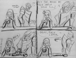 Sketc comics Tali/Garrus by spaceMAXmarine