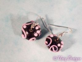 Black and pink earrings by Moon-Q