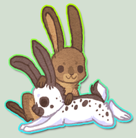 Chibi bunnies by griffsnuff