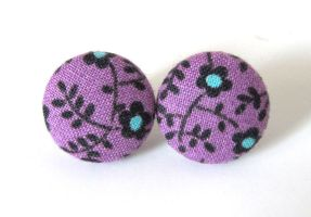 Purple stud earrings black blue flowers girly by KooKooCraft