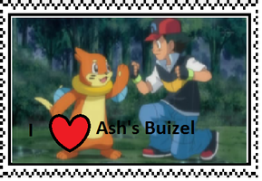 Ash's Buizel fan stamp by Fran48
