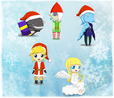 Christmas skyward sword chibis by Evomanaphy