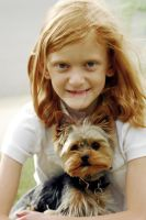 Little Girl and Yorkie by houstonryan