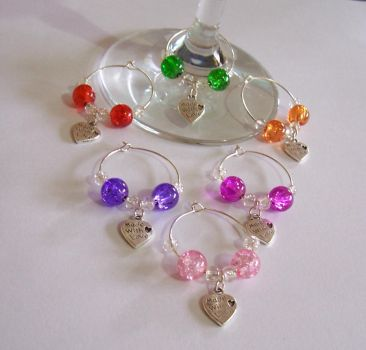 Wedding Wine Glass Charms by Libbyscreations