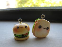 Cute Sandwich and Hamburger Charms! by strawberrycharms