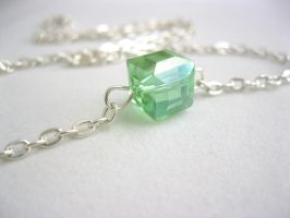 peridot green cube necklace by faranway