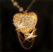 Steampunk Love Heart by byrdldy