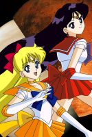 Sailor Venus and Mars by BrokenSilhouette77