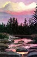 Sunset over creek by sticmann