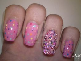 Micro Beads Nail Design by AnyRainbow