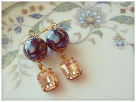 Blue Rose + Peach Earrings by GingerKellyStudio