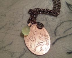 Cernunnos green chalcedony and copper necklce by Destinyfall