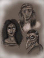 The crow, the owl and the dove by FlameCurry