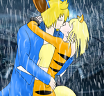 kissing in the rain by xXDorrieXx