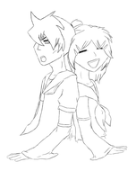 Haine Ren and Lin sketch commish by ThisDyingDog