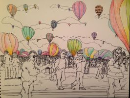 Balloon Fiesta Contour Drawing by trujayy