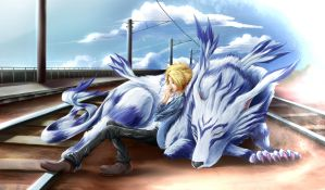 Yamato and Garurumon by yoru-gata