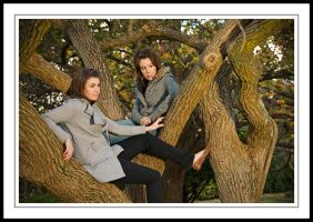 Lara and Sarah - Up a Tree by Tiberius47
