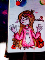 a tiny Mabel drawing on a tiny notebook. by altryturtle