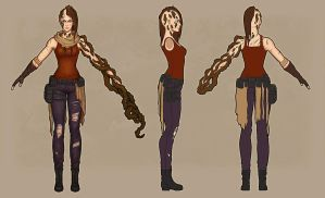 Post Apocalyptic Sword Lady character turnaround by lausr