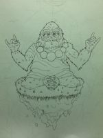Meditating Gorilla WIP by thincrispycrust
