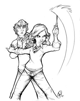 Hermione and Ron by AdamWithers