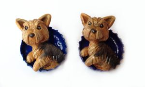 Yorkie Pop-Out Pins by LeiliaClay