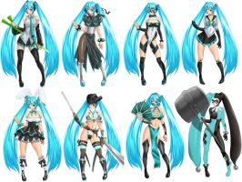 Various changes of Miku by marchinx1