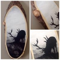 Deer Silhouette on wood slab by Murphy-Murphy