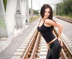 Angelina on the railroad by ScorpionEntity