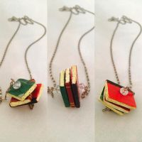Wooden books pendant by SalmaHSaleh