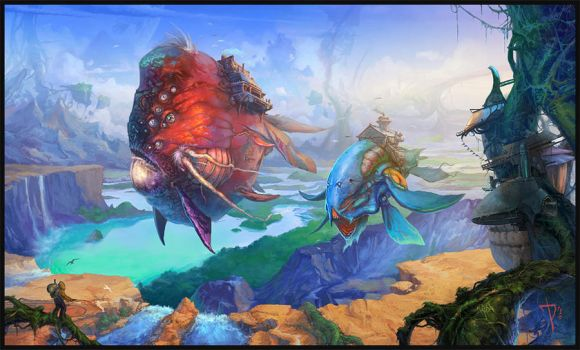The world where flying fish by AKIRAwrong