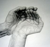 Cupped Hands drawing by rE-Fuuused