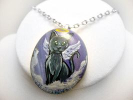Russian Blue Cat Pendant Necklace / Sold by sobeyondthis