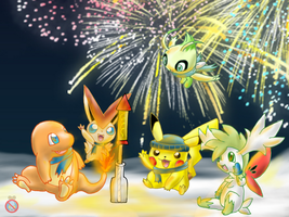 Pokemon celebrating New Year by shadowhatesomochao