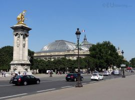 Golden statue and view from Pont Alexandre III by EUtouring