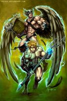Dark Aquaman and Hawkman by Felsus