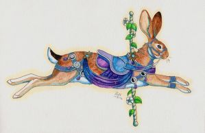 Traditional Media: Celestial Carousel Hare by The-Hare
