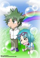 Ueki X Ai Chibi Colored by yasumeyukito
