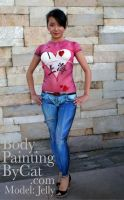 Painted jeans Tshirt body by Bodypaintingbycatdot