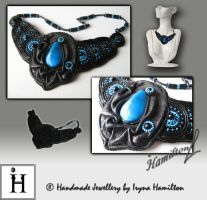 Leather Queen fashion necklace by IrynaHamilton
