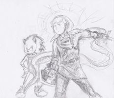 Link and Sonic Epic Scarf Envy by joshthecartoonguy