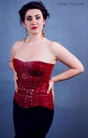 Red Leather Bustier by Trinitynavar