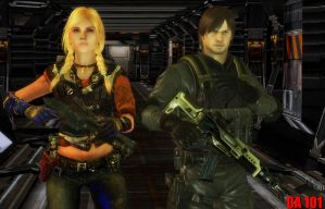 Joey Kennedy and Rachael in Resident Evil In Space by CharonA101