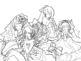 Female characters in wedding dresses : D by WizRin