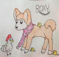 Roxy with chickens :3 by KikiIsABeast