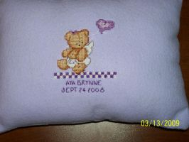 Angelbear Cross Stitch Pillow by Joce-in-Stitches