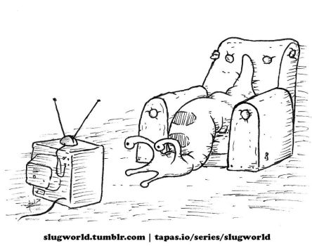 Slug viewing the television by Zombie-Kawakami