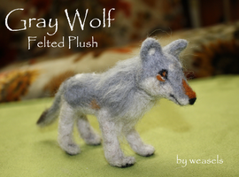 Gray Wolf - Felted Plush by dipnoi